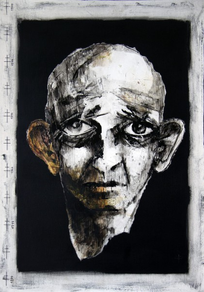 Sans titre 4, drawing, ink on paper mounted on wood, Didier Estival, Artcompulsion, conteporary art