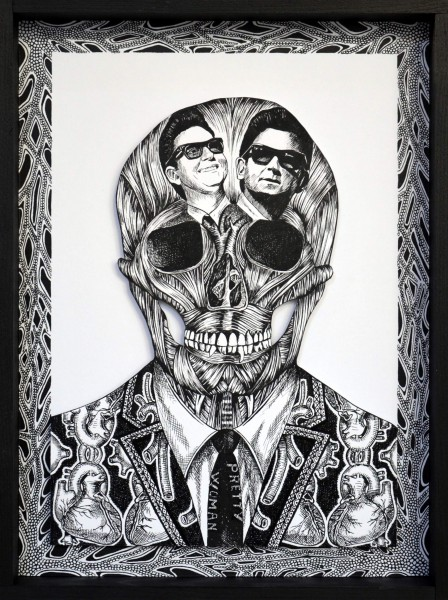 "Rockskull Roy Orbison, ink on paper, 14.2""x10.6"", Didier Estival, Artcompulsion, contemporary art"