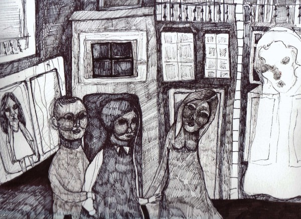 Sans titre 2, drawing, Chinese ink on paper, Caroline Dahyot, Outsiderart