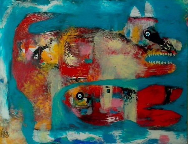 Poisson chat, mixed media on wood, Delphine Cadoré, Artcompulsion, Artworks for sale