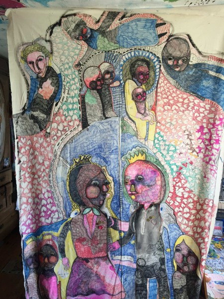 Drap, felt pens on bed sheet, Caroline Dahyot, Artcompulsion, outsiderart, Artworks for sale