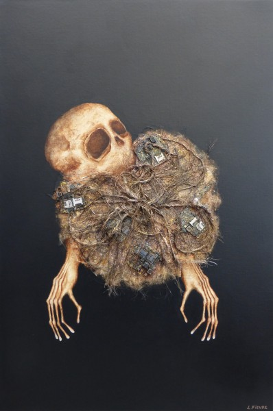 Atome, mixed media on canvas, Laurent Fièvre