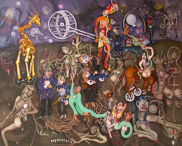 Minuit, le premier janvier..., Oil on canvas, Claude Bolduc, Outsiderart, contemporary art, Artcompulsion
