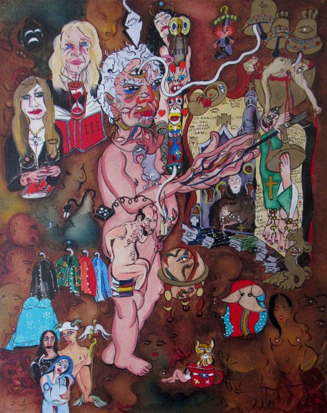 Le radeau de l'initié, oil on canvas, Claude Bolduc, Outsiderart, contemporary art, Artcompulsion