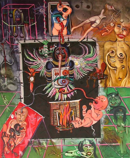 L'entrée dans le monolithe, oil on canvas, Claude Bolduc, Outsiderart, contemporary art, Artcompulsion