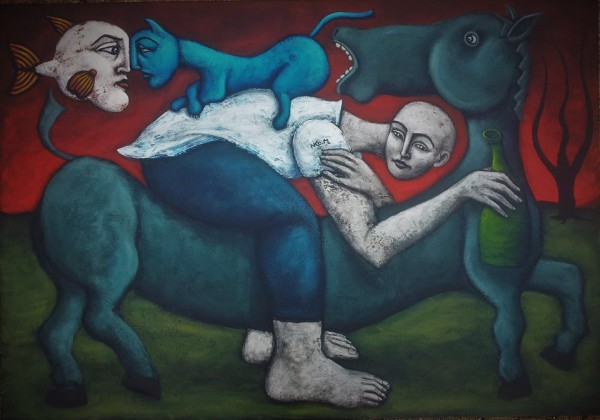 Transport en commun, Acrylic and oil on canvas, Nicolas Monjo, Outsiderart, Artcompulsion