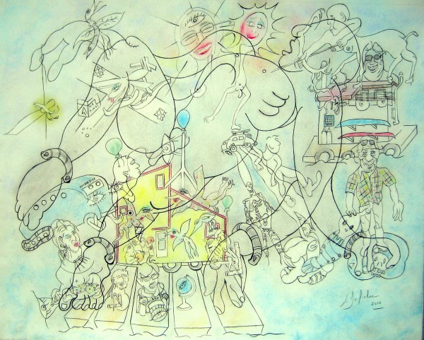 Les maisons flottantes ..., drawing on paper, pastel, Claude Bolduc, Outsider art, Artcompulsion