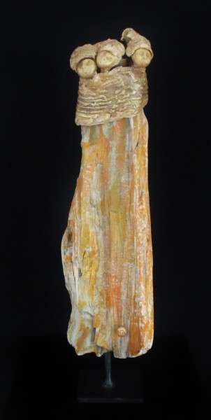 Tragédienne, Terracotta on painted driftwood, Bérénice Fourmy, Contemporary Art, Artcompulsion