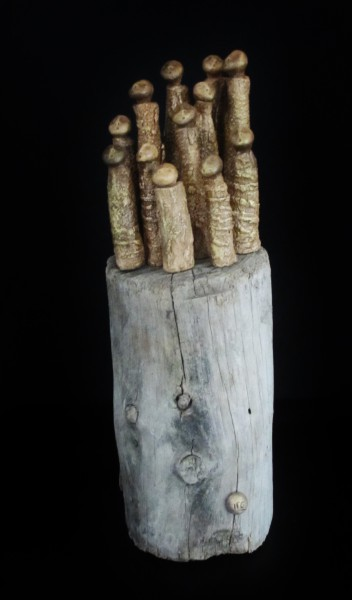 Pénitents, Terracotta on driftwood, Bérénice Fourmy, Contemporary Art, Artcompulsion