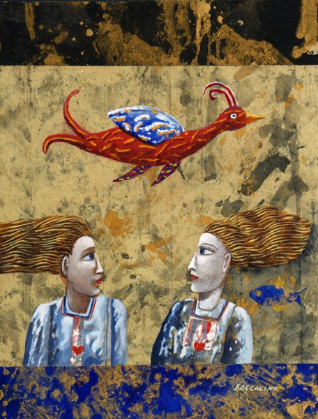 Couple et oiseau, Mixed media on wood, Jean Boccacino, Artcompulsion