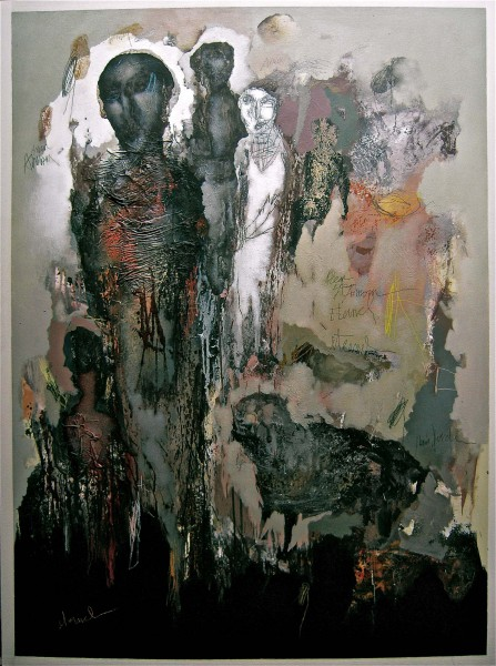 Print La marche spirituelle 2, Mixed media on MDF, Jean-Louis Bessede, Artcompulsion