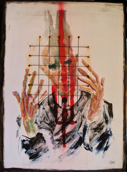 Migraine n°1, Oil and steel wire on wood, Jean Kiboi, Outsider Art, Artcompulsion